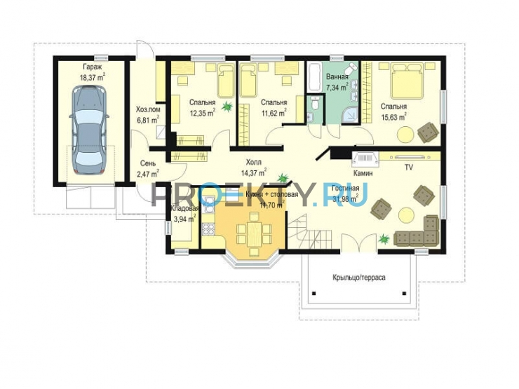 План проекта Д05 с гаражом - 1