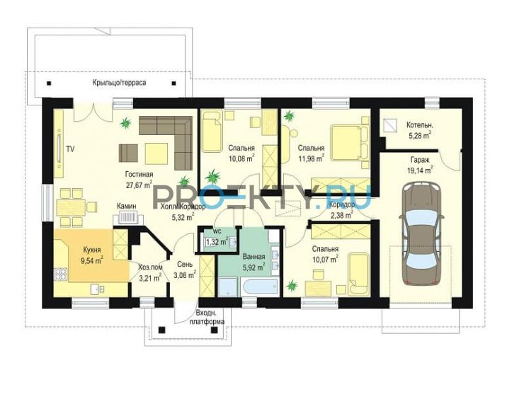План проекта Солнечный с гаражом-2 - 1