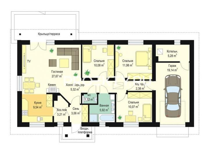 План проекта Солнечный с гаражом-2