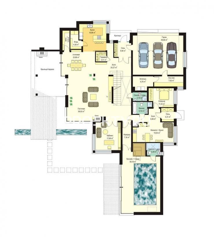 План проекта Вилла с бассейном